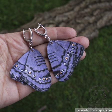 """Серьги бабочки из кожи """"Grey Pansy"""" ручной работы на заказ"""