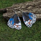 "Серьги бабочки из кожи ""Blue Pansy"""