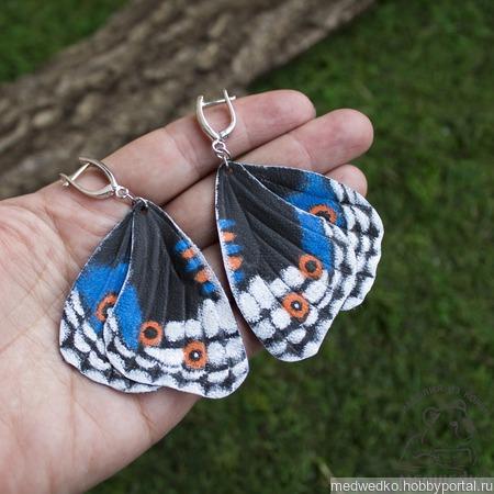 """Серьги бабочки из кожи """"Blue Pansy"""" ручной работы на заказ"""