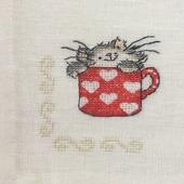 "Салфетка ""Кошка в красной чашке"""