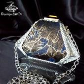 Клатч миниатюрный из кожи Silver flowers