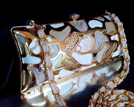 Клатч вечерний с металлическим узором и кожанной мозаикой ручной работы на заказ