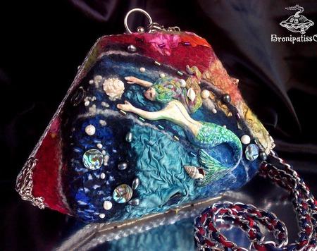 Клатч бокс коллекционный из войлока Русалочка ручной работы на заказ