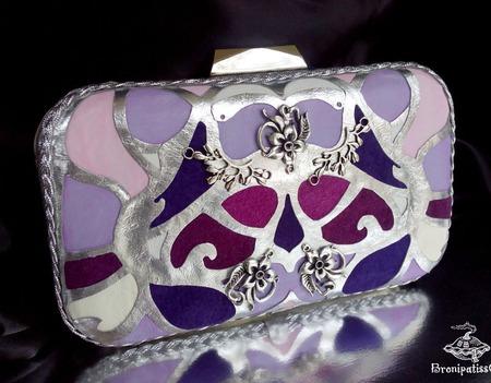 Клатч из натуральной кожи Art Deco lilac ручной работы на заказ