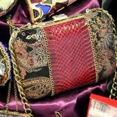 """Клатч кожаный с натуральной кожей змеи """"Red elegance"""""""