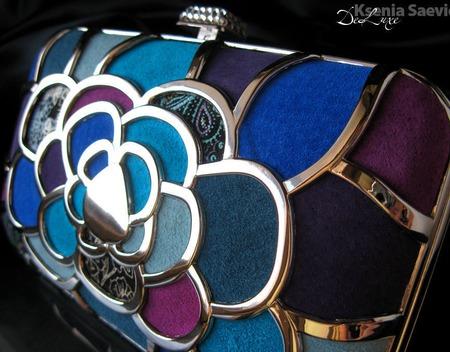 Клатч вечерний сине-бирюзовый натуральная кожа замша Серебряный металл ручной работы на заказ