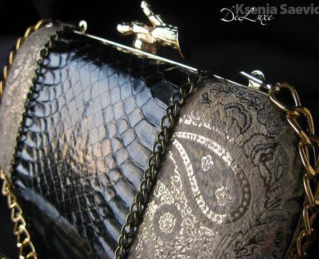 """Клатч с натуральной кожей змеи """"Blach&Beige"""" ручной работы на заказ"""