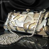 Клатч вечерний металлический Серебряный Золотой натуральная кожа замша