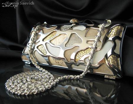 Клатч вечерний металлический Серебряный Золотой натуральная кожа замша ручной работы на заказ