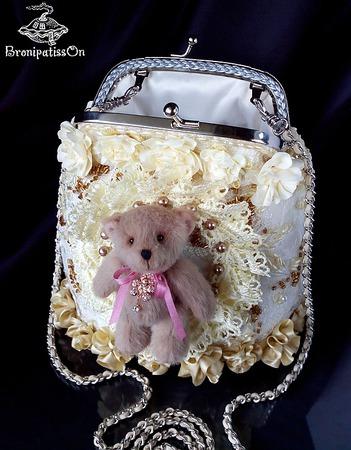 Сумочка с авторским мишкой Екатерины Парамоновой ручной работы на заказ