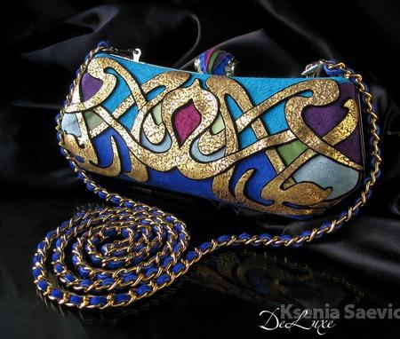 Клатч в стиле Модерн бирюза/синий ручной работы на заказ
