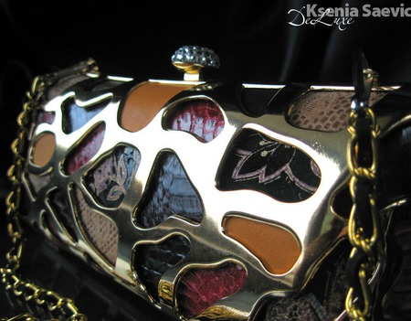 Клатч вечерний Красно-чёрный техника мозаики с металлическим каркасом ручной работы на заказ