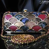 Клатч вечерний мозаика из натуральной кожи с узорами и принтами