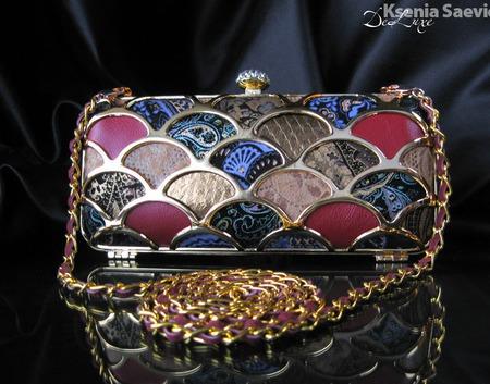 Клатч вечерний мозаика из натуральной кожи с узорами и принтами ручной работы на заказ