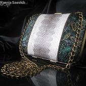 """Клатч кожаный с натуральной кожей змеи """"Elegance"""""""