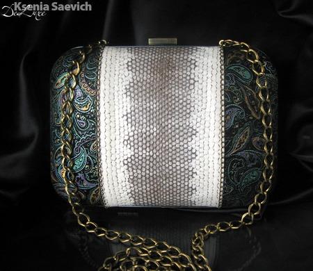 """Клатч кожаный с натуральной кожей змеи """"Elegance"""" ручной работы на заказ"""