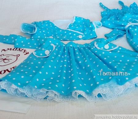 """Летний костюм-комплект """"Милый горошек"""" для девочки: юбка+топ+комбинезон ручной работы на заказ"""