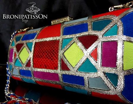 Клатч разноцветный в витражной технике из натуральной кожи Circus ручной работы на заказ