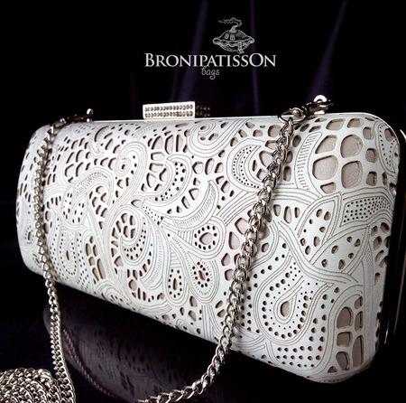 Клатч белый кружевной Romantic white из натуральной кожи ручной работы на заказ