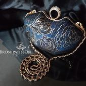 Клатч вечерний тёмно-синий с золотой фурнитурой Blue modern маленький