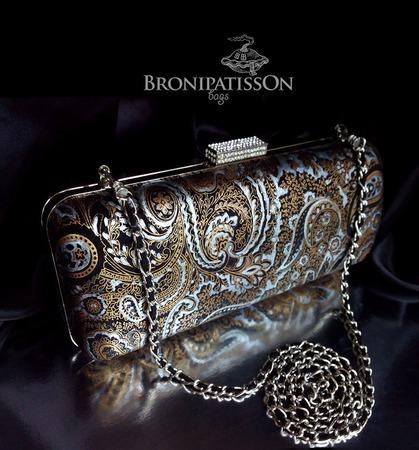 Клатч коричневый с серебром из натуральной кожи с узором пейсли ручной работы на заказ