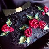 Клатч вечерний замшевый Розы на чёрном