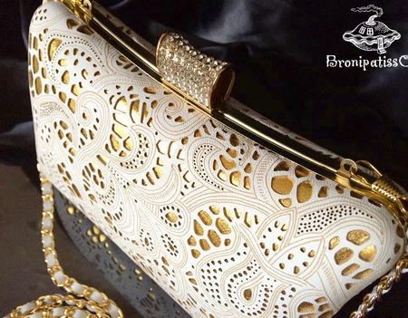 Клатч вечерний White&gold кожаный кружевной ручной работы на заказ