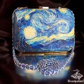 Клатч кожаный с принтом Звёздная ночь Ван Гога