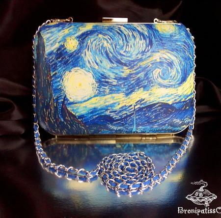 Клатч кожаный с принтом Звёздная ночь Ван Гога ручной работы на заказ