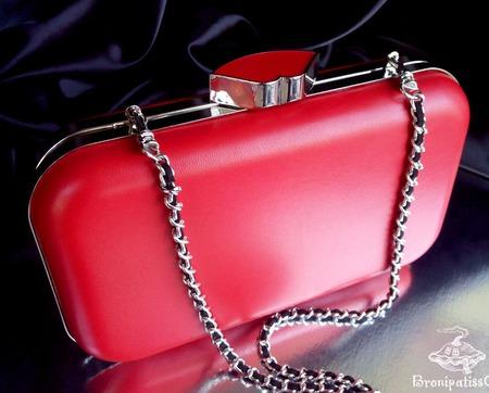 Клатч из кожи Красный на жесткой основе ручной работы на заказ