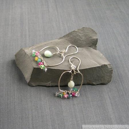 """Серьги """"Сaravansari"""" из серебра и самоцветов ручной работы на заказ"""