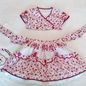 """Летний костюм-комплект """"Розочки"""" для девочки: юбка+топ"""