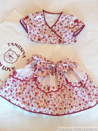 """Летний костюм-комплект """"Розочки"""" для девочки: юбка+топ ручной работы на заказ"""
