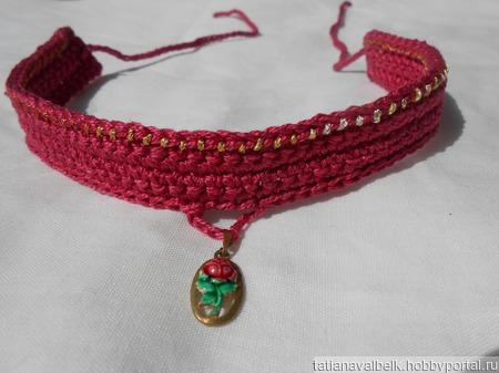 Бархотка с винтажным кулоном украшение на шею ручной работы на заказ