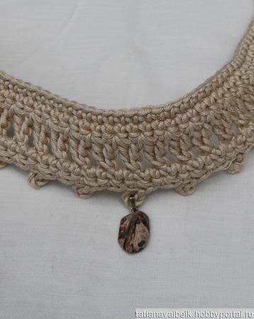 Бархотка бежевая украшение на шею ручной работы на заказ