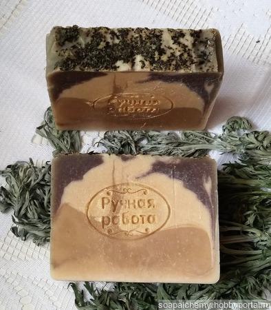 """Мыло """"Полынка"""" с зелёной глиной, на отваре полыни ручной работы на заказ"""