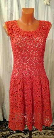Платье крючком ажурное ручной работы на заказ