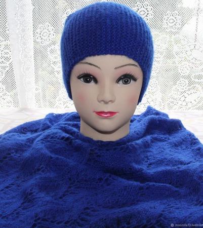 Комплект: шапочка + палантин ручной работы на заказ