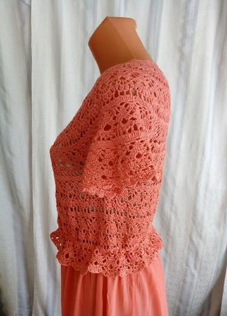 Сарафан крючком ажурный комбинированный с шелковой юбкой ручной работы на заказ