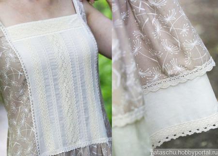 Летний женственный сарафан в стиле бохо из хлопка ручной работы на заказ