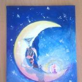 """Картина акрилом """"Лунные объятия"""""""