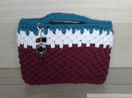 Женская вязаная сумка из трикотажной пряжи ручной работы на заказ