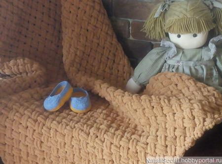 Плед плюшевый (плетенка) ручной работы на заказ