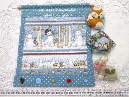 """Текстильное панно """"Лесные жители снеговики"""" ручной работы на заказ"""