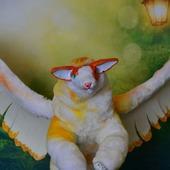 """Авторская игрушка """"Ксаа, айс или крылатый кот"""""""