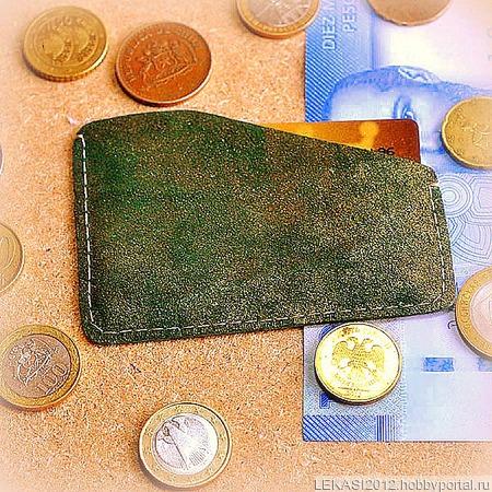 Зеленый с золотом кожаный картхолдер ручной работы на заказ