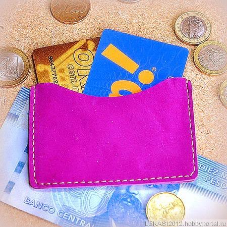 Фиолетовый кожаный картхолдер из нубука ручной работы на заказ