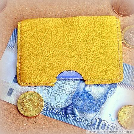 Желтый кожаный картхолдер ручной работы на заказ