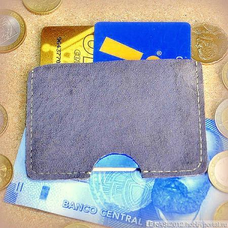 Серый кожаный картхолдер замшевый ручной работы на заказ