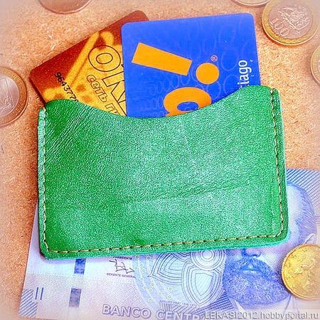 Зеленый кожаный картхолдер ручной работы на заказ